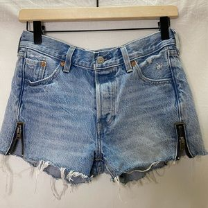 Levis 501 button fly distressed denim shorts
